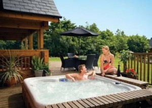 Relaxing in a hot tub at the weekend
